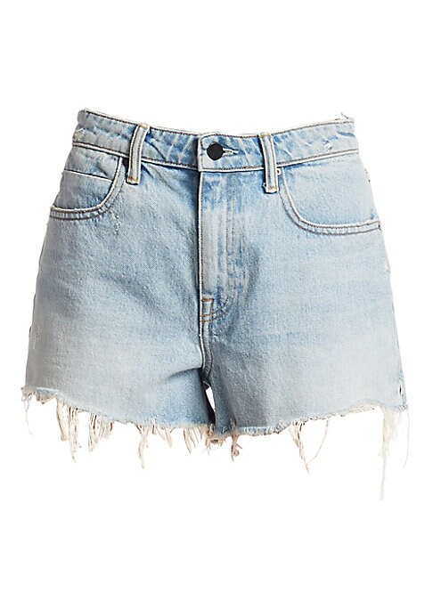 "Image of Denim shorts featuring distressed cuffs. Belt loops. Zip fly with button closure. Five-pocket style. Rise, about 12"".Inseam, about 3"".Cotton. Dry clean. Made in USA of imported fabric. Model shown is 5'10"" (177cm) wearing US size 2."