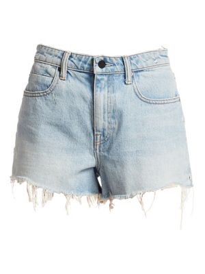 """Image of Denim shorts featuring distressed leg openings. Belt loops. Zip fly with button closure. Five-pocket style. Rise, about 12"""".Inseam, about 3"""".Cotton. Dry clean. Made in USA of imported fabric. Model shown is 5'10"""" (177cm) wearing US size 2."""