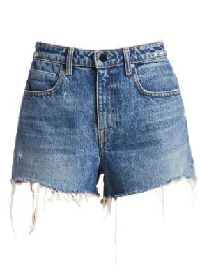"""Image of Vintage-inspired denim shorts with frayed cut-off hem. Belt loops. Zip fly with button closure. Five-pocket style. Frayed cut-out hem. Rise, about 9.25"""".Inseam, about 2"""".Cotton. Dry clean. Made in USA of imported fabric. Model shown is 5'10"""" (177cm) weari"""
