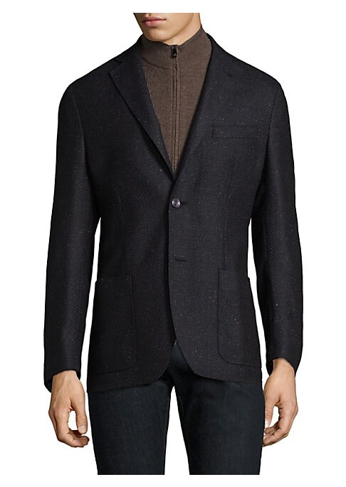 Image of A sophisticated wool-blend sportcoat for any formal event. Notchlapels. Long sleeves. Buttoned barrel cuffs. Button front. Wool/silk. Dry clean. Made in Italy.
