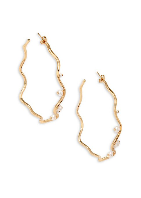 """Image of Wire hoop earring accented with freshwater pearls. White freshwater pearls.18K yellow goldplated. Diameter, about 2.5"""".Post back. Made in France."""