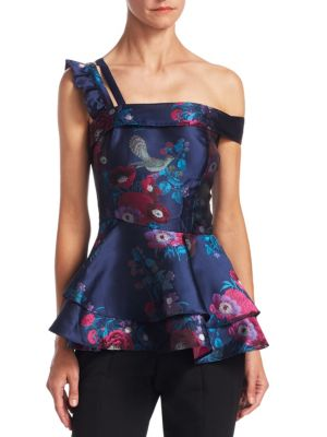 Floral Jacquard Peplum Top by Scripted