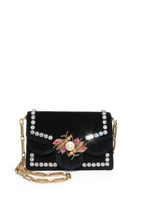 Broadway Embellished Velvet Chain Shoulder Bag, Black