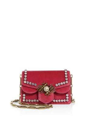 Broadway Embellished Velvet Chain Shoulder Bag, Raspberry