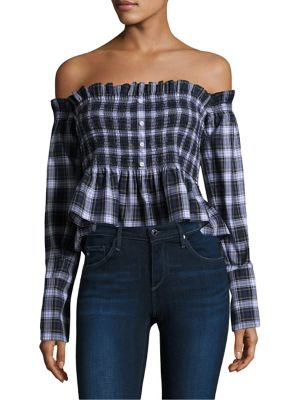 Baine Plaid Off-the-Shoulder Cotton Top by Petersyn