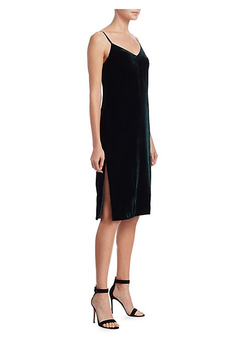 """Image of .EXCLUSIVELY AT SAKS FIFTH AVENUE. Velvet dress with elegant silhouette. Plunging V-neck. Sleeveless. Side slit. About 44"""" from shoulder to hem. Velvet. Dry clean. Imported. Model shown is 5'10"""" (177cm) wearing size Small."""