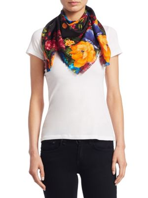 Foulard Pictorial Bouquet Silk Scarf by Gucci