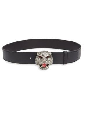 Tiger Buckle Calfskin Leather Belt, Black