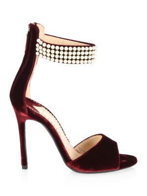 Embellished Open Toe Velvet Sandals by Louis Leeman