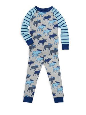 Image of Super soft, eco-friendly and snug fitting organic cotton sleepwear set. Cotton. Machine wash. Imported. Top. Crewneck. Long raglan sleeves. Banded cuffs. Pants. Elasticized waistband. Banded leg openings.