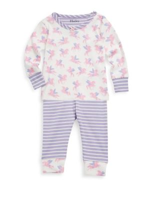 Image of Super soft, eco-friendly and snug fitting organic cotton sleepwear set. Cotton. Machine wash. Imported. Top. Crewneck. Long sleeves. Banded cuffs. Snap closure at shoulder. Pants. Elasticized waistband. Banded leg openings.
