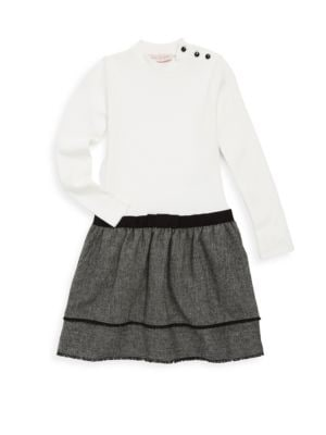 Image of Cotton-blend dress with bow detail and fringed-edge tiered skirt. Roundneck. Long sleeves. Button closure at shoulder. Adjusted waist and wide skirt. Cotton/elastane/wool/polyester/viscose. Machine wash. Imported.