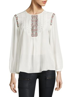 Clema Embroidered Silk Blouse by Joie