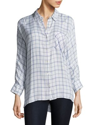 """Image of Long sleeves blouse with button tab at cuffs. Point collar. Long sleeves. Buttoned barrel cuffs. Button front. Chest patch pocket. About 26"""" from shoulder to hem. Rayon. Dry clean. Imported. Model shown is 5'10"""" (177cm) wearing size Small."""