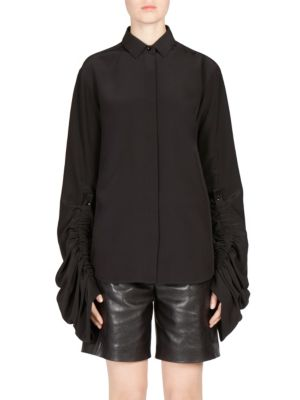 Blouse with Shirred Blouson Sleeve by Saint Laurent