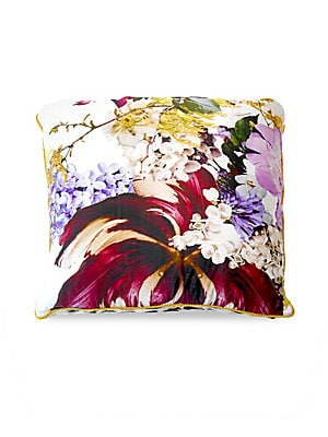 """Image of Square cushion featuring floral design. 23""""W x 23""""L Polyester/cotton/silk Dry clean Made in Italy. Gifts - Bed And Bath. Roberto Cavalli. Color: White Pink."""