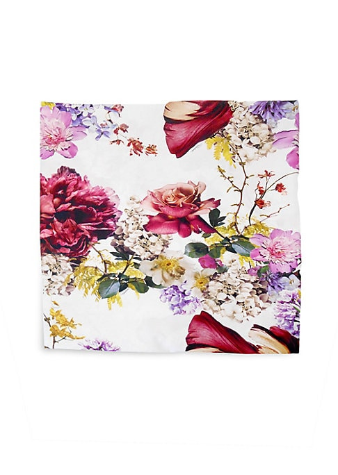 """Image of Cotton sateen flat sheet featuring floral design.300 thread count. Queen: 96""""W x 106""""L.Cotton sateen. Machine wash. Made in Italy."""