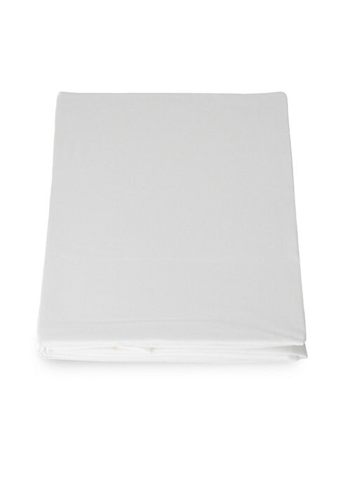 """Image of EXCLUSIVELY AT SAKS FIFTH AVENUE. Luxurious Italian soft cotton sateen fitted sheet.300 thread count. Queen: 60""""W x 80""""L.Cotton sateen. Machine wash. Made in Italy."""