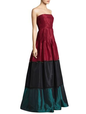 """Image of Silk floor-length gown with pintuck and cutout details. Straight across neckline. Lined. About 62"""" from top to hem. Silk. Dry clean. Imported. Model shown is 5'10"""" (177cm) wearing US size 4."""