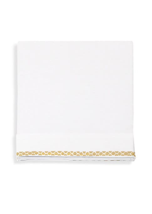 """Image of Cotton sateen flat sheet with printed trim.300 thread count.96""""W x 106""""L.Cotton sateen. Machine wash. Made in Italy."""