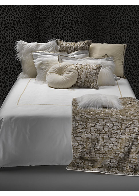 "Image of Cotton sateen duvet cover with printed design.88""W x 92""L.Cotton sateen. Machine wash. Made in Italy."