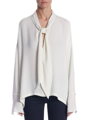 Plunging Silk Blouse by Theory