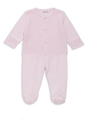Image of Cotton two-piece set of knit cardigan and pants. Cotton. Machine wash. Imported. Cardigan Roundneck Long sleeves Button front Pants Elasticized waist. Children's Wear - Layette Apparel And Acce. Kissy Kissy. Color: Pink. Size: 3-6 Months.