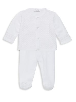 Image of Cotton two-piece set of knit cardigan and pants. Cotton. Machine wash. Imported. Cardigan Roundneck Long sleeves Button front Pants Elasticized waist. Children's Wear - Layette Apparel And Acce. Kissy Kissy. Color: White. Size: 3-6 Months.