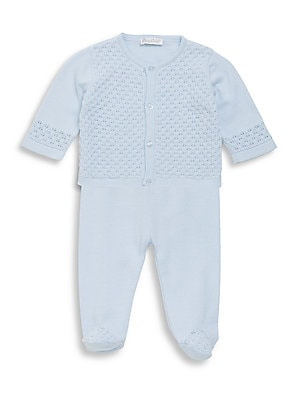 Image of Cotton two-piece set of buttoned knit cardigan and pants. Cotton. Machine wash. Imported. Cardigan Roundneck Long sleeves Button front Pants Elasticized waist. Children's Wear - Layette Apparel And Acce. Kissy Kissy. Color: Light Blue. Size: 6-9 Months.