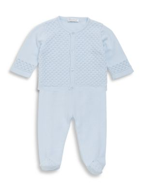 Babys Cotton TwoPiece Tender Touches Knit Cardigan and Pants Set