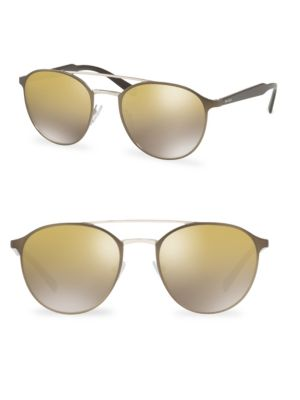 Image of Round sunglasses with gradient mirrored lenses.54mm lens width; 20mm bridge width; 140mm temple length.100% UV protection. Gradient mirrored lenses. Metal. Made in Italy.