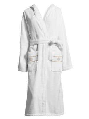Cotton Hooded Bathrobe, White