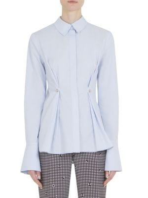 Long-Sleeve Darted Poplin Cotton Top by Carven