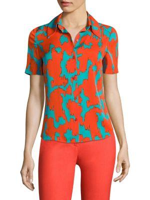 Abstract-Print Collared Shirt by Diane von Furstenberg