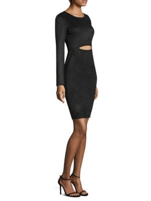Whitley Faux-Suede Cutout Dress, Black