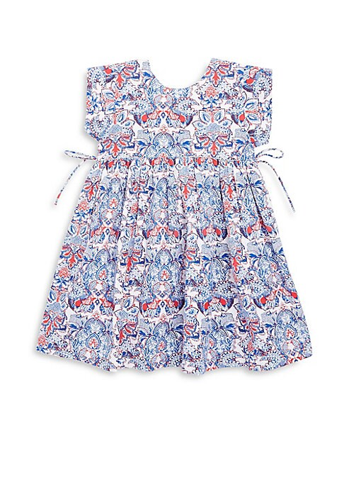 Image of Lightweight cotton dress features pretty gathered detail at waist. Roundneck. Short sleeves. Button closure at back keyhole. Cotton. Hand wash. Imported.