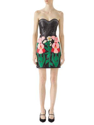 Buy Gucci Strapless Embroidered Leather Mini Dress online with Australia wide shipping
