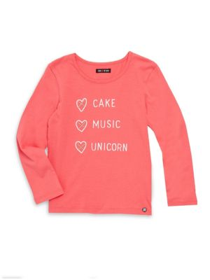 Toddlers Little Girls  Girls Cake Music Unicorn Cotton Tee