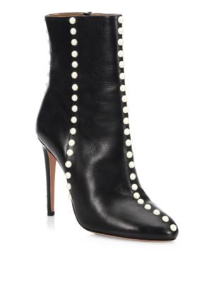 Follie Pearls Leather Ankle Boots in Black