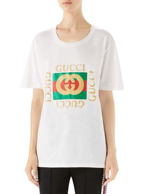 Glitter-Print Logo T-Shirt by Gucci