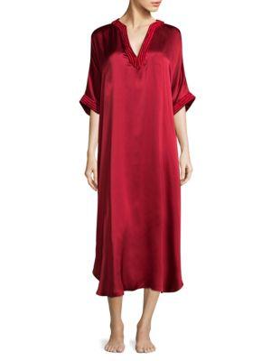 JOSIE NATORI Key Essentials Silk Caftan in Imperial Red