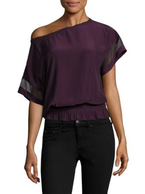 Karlye Mesh-Sleeve Banded Top by Ramy Brook