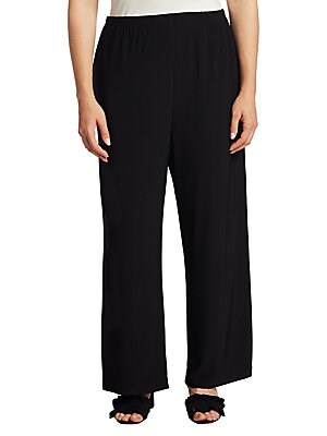 """Image of Ankle pant in lightweight stretch-knit jersey Elasticized waist Slit cuffs Pull-on style Rise, about 10"""" Inseam, about 29"""" Polyester/spandex Dry clean Made in USA. Salon Z - Salon Z Collections. Caroline Rose. Color: Black. Size: 2X (18-20)."""