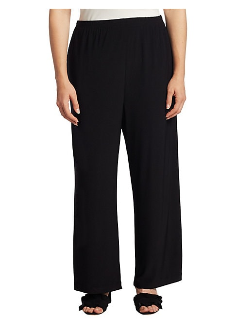 "Image of Ankle pant in lightweight stretch-knit jersey. Elasticized waist. Slit cuffs. Pull-on style. Rise, about 10"".Inseam, about 29"".Polyester/spandex. Dry clean. Made in USA."