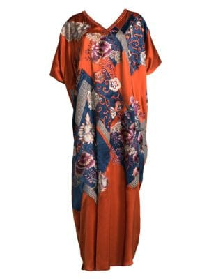 """Image of Silk caftan with embossed geometric flower detail.V-neck. Short cape sleeves. About 58"""" from shoulder to hem. Silk. Dry clean. Imported."""