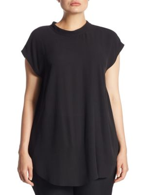 Short-Sleeve Silk Tunic by Eileen Fisher, Plus Size