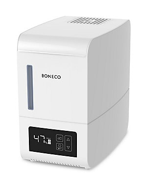"Image of Steam humidifier that combines simple operation Digital Features hand warm steam, cleaning mode and fragrance tray 11.75""W x 7""H x 11""D Plastic Clean with EZCal Cleaner every 2-4 weeks of use Imported. Gifts - Luxury Gifts > Saks Fifth Avenue. Boneco."