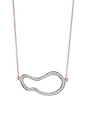 """Image of From the Riva Collection Pave pendant necklace inspired by organic shapes Diamonds, 0.05 tcw 18K rose gold vermeil Length, about 17.75"""" Lobster clasp Imported. Fashion Jewelry - Trend Jewelry. Monica Vinader. Color: Rose Gold."""