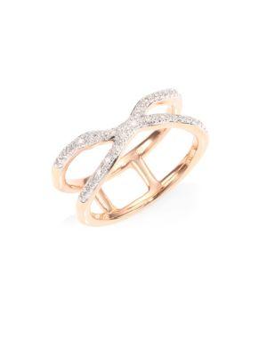 Riva Pave Wave Cross Ring/Rose Goldtone, Rose Gold/ Diamond