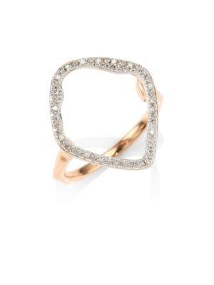 Riva Pave Hoop Ring/Rose Goldtone, Rose Gold/ Diamond